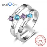 Personalized Gift for Family Engrave 4 Names Childrens Birthstone Promise Rings 925 Sterling Silver <b>Jewelry</b> (JewelOra RI103281)