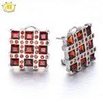 Hutang Stone Jewelry 4.8ct Natural Garnet Soild 925 Sterling <b>Silver</b> <b>Earrings</b> Women's Gemstone Fine Fashion Jewelry Black Friday