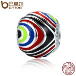 BAMOER Authentic 100% 925 Sterling Silver Distorted Space Rainbow Enamel Beads fit Women Bracelets Necklaces DIY <b>Jewelry</b> SCC294