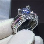 <b>Handmade</b> 2-in-1 Engagement Wedding Band Rings for women Pink AAAAA zircon cz White Gold Filled Female Bridal sets ring <b>Jewelry</b>