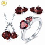 Hutang Solid 925 <b>Sterling</b> <b>Silver</b> 6.1ct Natural Gemstone Garnet Heart Pendant & Earrings & Ring Fine Bridal <b>Jewelry</b> Sets For Gift