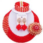 Laanc Brand African Beads <b>Jewelry</b> Set Red Champagne Gold AB Nigerian Wedding <b>Necklace</b> and Earrings for Women CB5R003