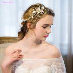 Jonnafe Delicate Gold Pearl <b>Jewelry</b> Headband Wedding Hair Vine Accessories <b>Handmade</b> Floral Bridal Headpiece Women Headbands