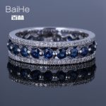 BAIHE <b>Sterling</b> <b>Silver</b> 925 1.7CT Certified H/SI Round Genuine Natural Diamonds & Sapphires Wedding Women Trendy Fine Jewelry <b>Ring</b>