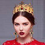 HG173 Baroque style bridal <b>jewelry</b> vintage Imperial crown headdress hair accessories tiara with Earrings <b>Wedding</b> accessories
