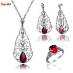 Szjinao Fashion Indian Red Ruby Wedding Vintage Bohemia <b>silver</b> 925 <b>Jewelry</b> Sets for Women Bridal Pendant/Earrings/Rings