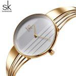 Shengke Unique Quartz Watch Women Luxury <b>Silver</b> <b>Bracelet</b> Watches Lady Dress Creative Dial Watches 2018 SK Relojes Mujer #K0062