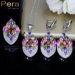 Pera <b>Fashion</b> 3 Pcs Big Flower Multi Color Elegant Women Prom Party Sterling Silver 925 Cubic Zirconia Necklace <b>Jewelry</b> Set J210
