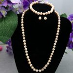Hot Pink pearl necklace set 6-7mm fish clasp necklace 18″ bracelet 7.5″ earrings 2 piece/lot women fashion <b>jewelry</b> <b>making</b>