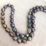 """30"""" 80cm Women <b>Jewelry</b> necklace 11x13mm black brown gray colors baroque flat pearl <b>handmade</b> Real cultured freshwater pearl gift"""