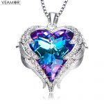 Veamor Angel Wings <b>Necklaces</b> Purple Crystal Heart Pendant <b>Necklace</b> Best Gifts For Women Girls Austria Crystals Fashion <b>Jewelry</b>