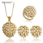 Madrry New Arrival Dubai Flower <b>Jewelry</b> Sets Pendant Necklace&Earrings&Rings For Women Gold color <b>Wedding</b> Dress Sweater Joyas