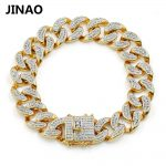JINAO New <b>Fashion</b> Gold Color Plated Micro Pave Cubic Zircon Bracelet All Iced Out 8″ Length Cuban Chain Hip Hop <b>Jewelry</b> For Male