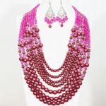 Chrams women rose red round simulated-pearl shell 7 rows necklace earrings <b>handmade</b> elegant free shipping <b>jewelry</b> set B1304