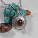 <b>Handmade</b> 925 Silver Nepalese Lucky Symbol Pendant Necklace Tibetan Red Stone Pendant Necklace Bohemia <b>Jewelry</b>