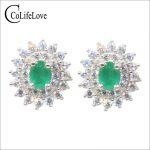 Dazzling emerald stud <b>earrings</b> 3 mm*4 mm natural SI grade emerald <b>earrings</b> for wedding solid 925 sterling <b>silver</b> emerald jewelry