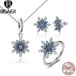 925 Sterling <b>Silver</b> Crystalized Snowflake Blue Crystals Clear CZ Jewelry Sets Wedding Brand Engagement Jewelry WES006