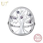 U7 925 Stamped Silver Plated Wisdom Tree Of Life Ring Hollow Rings for Women Sterling Silver <b>Jewelry</b> <b>Wedding</b> Party Gift SC151