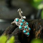 Koraba Fine <b>Jewelry</b> Turquoise Inlaid 925 <b>Silver</b> Peacock Ring Fashion Temperament Gems Accessories Gifts Free Shipping