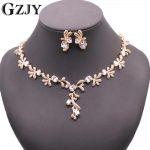 GZJY Beautiful White/Champagne Gold Color AAA Zircon <b>Necklace</b> Earring Set Bridal Wedding <b>Jewelry</b> Set For Women