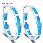 Simple <b>Wedding</b> <b>jewelry</b> Blue fire Opal 925 sterling Silver Dinner Hoop Earrings Fashion <b>Jewelry</b> SE33
