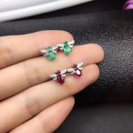 natural green emerald gem <b>earrings</b> 925 <b>silver</b> Natural red ruby grace Lovely Dragonfly Butterfly women girl party gift jewelry