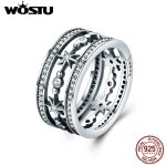 WOSTU Authentic 100% 925 Sterling Silver Cocktail Sparkling Star Female Wide Rings for Women Luxury Silver <b>Jewelry</b> Anel CQR258