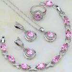 Egg Shaped Pink Cubic Zirconia White CZ 925 <b>Silver</b> Jewelry Sets For Women Wedding Earring/Pendant/Necklace/<b>Bracelet</b>/Ring 4PCS