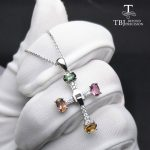 TBJ ,Elegant cross design with natural tourmaline multicolor gemstone necklace in 925 sterling <b>silver</b> fine <b>jewelry</b> with gift box