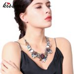 KISS ME Colorful Synthetic/Natural Stone Geometric Flower <b>Necklace</b> Party Unique Choker <b>Necklace</b> Women Statement <b>Jewelry</b>