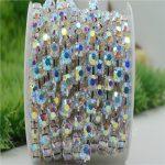 6/8mm Top Quality Sparkle Crystal AB Rhinestone Handmade Silver Strong Chain <b>Jewelry</b> <b>Making</b> ss28-ss38 10yards