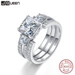 JQUEEN 925 Sterling <b>Silver</b> Rings 3Carat 8*8mm Gemstone <b>Jewelry</b> S925 <b>Silver</b> Wedding Ring Set With Gift Box For women