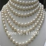 Fashion style long AA+ 8-9mm white akoya cultured pearl <b>making</b> lovely necklace MY4530