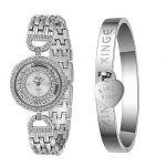 Watches Women <b>Silver</b> Rhinestone Love Bangle Watch And <b>Bracelet</b> Set 593S Wristwatch Bangle <b>Bracelet</b> reloj mujer 17Jul19