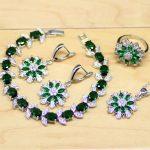 Flower Green Cubic Zirconia White CZ 925 Silver <b>Jewelry</b> Sets For Women Wedding Earrings/Pendant/Necklace/Rings/Bracelet T085