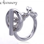 Moonmory 925 Sterling Silver Rope Chain Ring With Hoop Lock For Women French Popular Clasp Ring Sterling Silver <b>Jewelry</b> Making