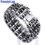 TrustyLan Solid Stainless Steel 35MM Wide Heavy Men's Skeleton Skull Bracelet Punk Rocker Ghost Bangle Biker <b>Jewelry</b> Bracelets