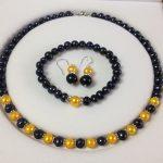 Women's Wedding Black/Golden Akoya Cultured Pearl bracelets necklace earrings set >AAA GP Bridal wi brinco