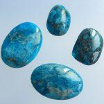 <b>Fashion</b> Handmade Blue Apatite Crystal Gemstone Cabochon Semi Gem Wholesale <b>Jewelry</b> Gift Gem Customized 26x20x4mm 19x13x6mm 11.4g