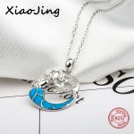 New arrival 925 sterling silver Mermaid chain pendant&necklace with CZ&blue enamel diy fashion <b>jewelry</b> <b>making</b> for women gifts