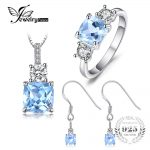 JewelryPalace Classic 6ct Genuine Blue Topaz 3 Stone Ring Pendant Necklace Drop <b>Earrings</b> Jewelry Sets 925 Sterling <b>Silver</b> 45cm