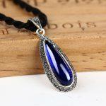 925 Silver Pendant Red Blue Corundum Stone Cubic Zircon 100% Pure S925 Solid Thai Silver Pendants for Women <b>Jewelry</b> <b>Making</b>
