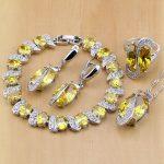 Trendy 925 Sterling <b>Silver</b> Bridal Jewelry Yellow Cubic Zirconia Jewelry Sets For Women Earrings/Pendant/Necklace/Rings/<b>Bracelet</b>