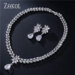 ZAKOL Luxury Flower Water-drop Red Cubic Zirconia <b>Jewelry</b> Sets With Sliver Color For Women Engagement FSSP062