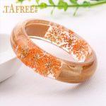 TAFREE Wood Resin Bangle Bracelet With Orange gypsophila Real Dried Flower Cuff Love Bracelet For Women Indian <b>Jewelry</b> RF25