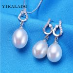YIKALAISI 2017 natural pearl jewelry set for women 925 sterling <b>silver</b> jewelry pendant&drop <b>earrings</b> best price best gift