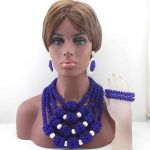 New Chunky Royal Blue Big Bold Statement Jewelry Sets Crystal Pendant Necklace Set for Nigerian Wedding Free Shipping HD8351