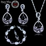 Trendy Attractive Black Pear Water Drop Cubic Zirconia Crystal 925 Sterling <b>Silver</b> Jewelry Set For Women <b>Bracelets</b> Sets