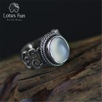 Lotus Fun Real 925 Sterling Silver Natural Chalcedony Stone <b>Handmade</b> Creative Fine <b>Jewelry</b> Vintage Female Rings Bijoux