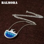 BALMORA 990 Pure Silver <b>Handmade</b> Embroidery Pendant Necklaces for Women Lady Gift Fashion <b>Jewelry</b> about 50cm Long Chain JN80992